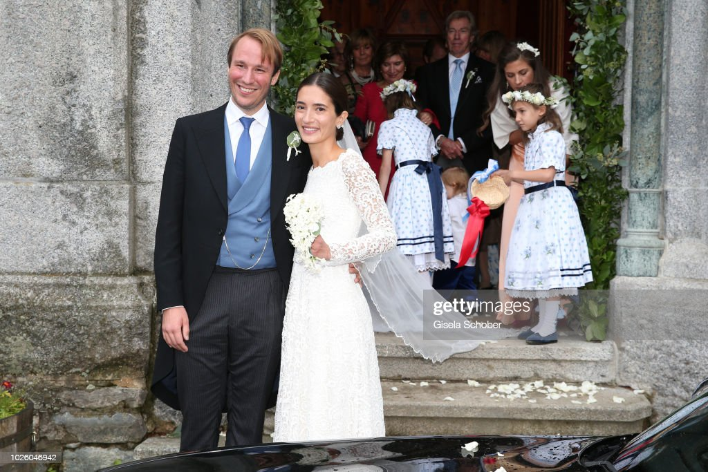 Bridegroom Prince Konstantin of Bavaria and his wife Princess Deniz of Bavaria, born Kaya leave their wedding at the french church 'Eglise au Bois' on September 1, 2018 in St Moritz, Switzerland.