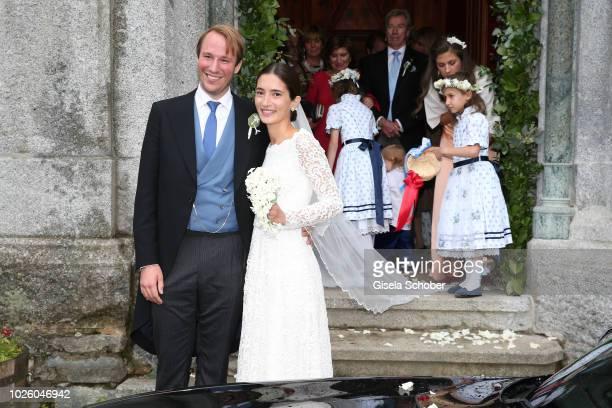 Bridegroom Prince Konstantin of Bavaria and his wife Princess Deniz of Bavaria born Kaya leave their wedding at the french church 'Eglise au Bois' on...