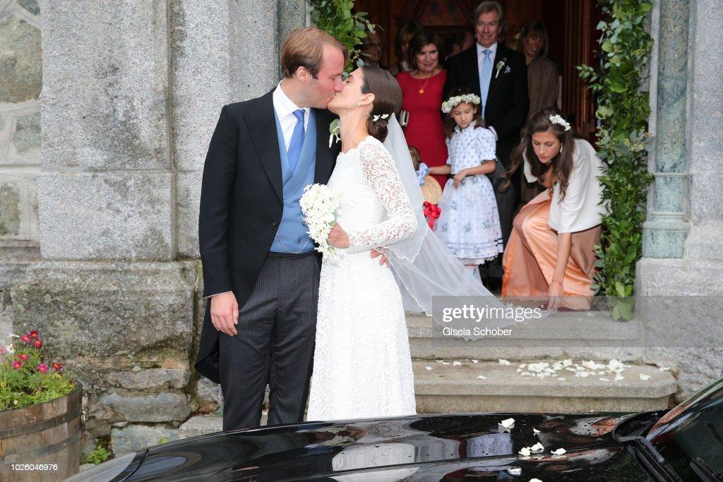 Bridegroom Prince Konstantin of Bavaria and his wife Princess Deniz of Bavaria, born Kaya leave their wedding at the french church 'Eglise au Bois' on September 1, 2018 in St Moritz, Switzerland.