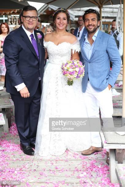 Bridegroom Torsten Koch and his wife bride Annika Koch and Elyas M'Barek during the wedding of Torsten Koch and Annika Hofmann at Wiesergut Alm on...