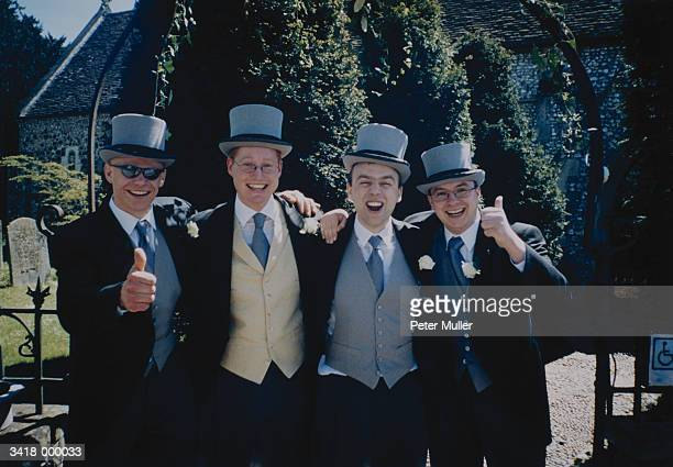 bridegroom with friends - top hat stock pictures, royalty-free photos & images