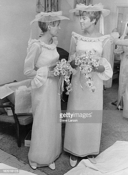AUG 27 1967 AUG 28 1967 Bridegroom's Sisters are Bride's Attendants Awaiting their cue to lead bridal procession are Mrs James Eldridge left and Mrs...