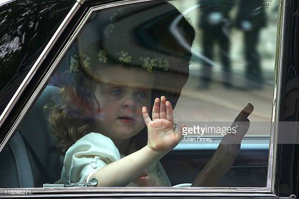 Bridemaid Grace van Cutsem aged 3 arrives to attend the Royal Wedding of Prince William of Wales to Catherine Middleton at Westminster Abbey on April...