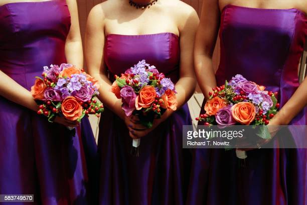 bridemaids holding bouquets - strapless evening gown stock pictures, royalty-free photos & images