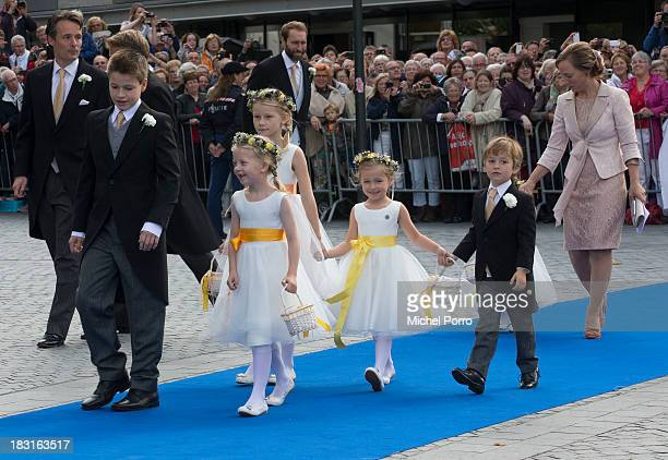 Brides children attend the wedding of Prince Jaime de Bourbon Parme and Viktoria Cservenyak at The Church Of Our Lady At Ascension on October 5, 2013...
