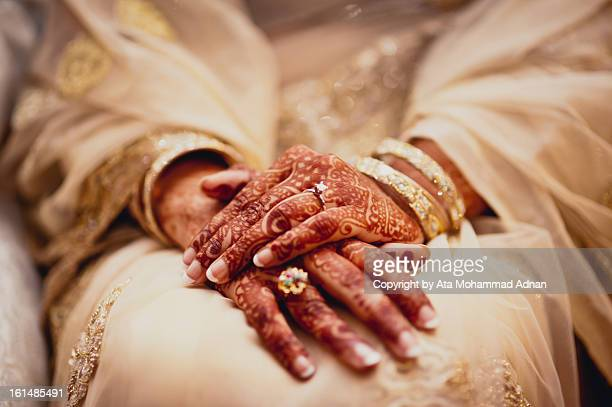 bride's folded hands - bangladeshi bride stock photos and pictures
