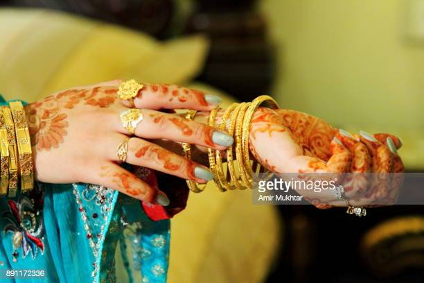 bride's hands - pakistani culture stock photos and pictures