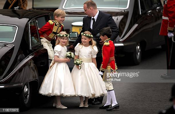 Brides maids and page boys arrive at Westminster Abbey for the Royal Wedding of Prince William to Catherine Middleton at Westminster Abbey on April...