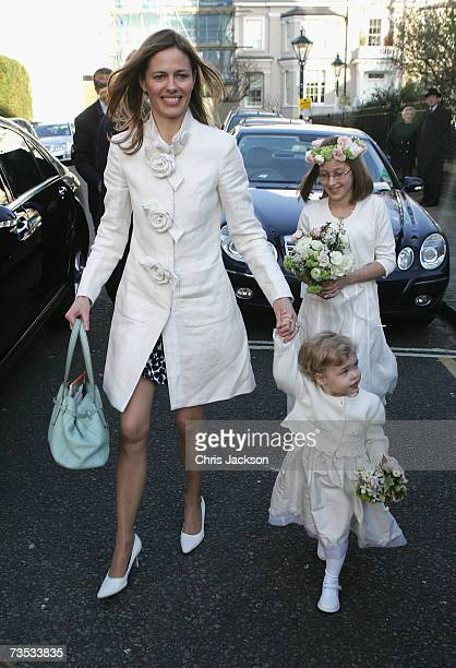 Brides maids arrive at Christ Church Kensington for the wedding of Alan Parker and Jane Hardman on March 9 2007 in London England
