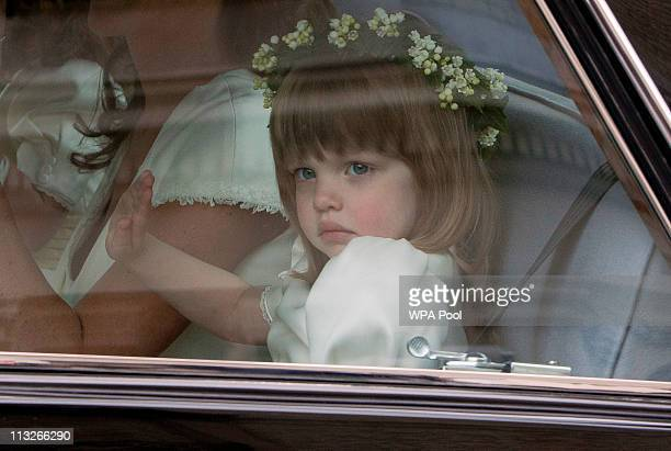 Bridesmaid Eliza Lopes the granddaughter of the Duchess of Cornwall leaves the Goring Hotel ahead of the Royal Wedding of Prince William to Catherine...