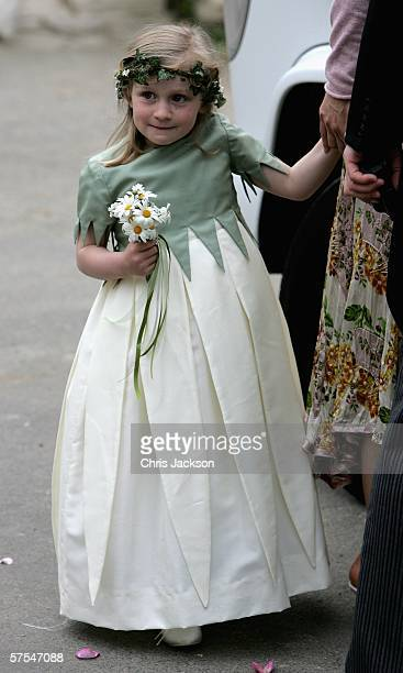 A bridesmaid is seen at St Cyriac's Church Lacock for the wedding of Harry Lopes and Laura Parker Bowles on May 6 2006 in Wiltshire England 26year...