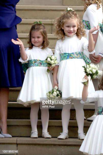 Bridesmaid Princess Charlotte of Cambridge and Maud Windsor after the wedding of Princess Eugenie of York and Jack Brooksbank at St. George's Chapel...