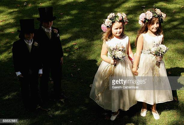 Bridesmaides attend the wedding of musician Jools Holland and Christabel McEwen at St James's Church Cooling on August 30 2005 in Cooling England The...