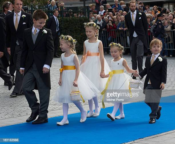 Bridesmaids and pageboys attend the wedding of Prince Jaime de Bourbon Parme and Viktoria Cservenyak at The Church Of Our Lady At Ascension on...