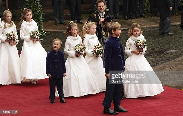 Bridesmaids and pageboys leave the wedding of Lady Tamara Grovesnor and Edward Van Cutsem on November 6 2004 in Chester England Lady Tamara is the...