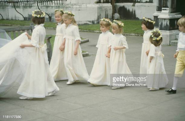 Bridesmaids at the wedding of Nicholas Soames and Catherine Weatherall at St Margaret's Church in London 4th June 1981