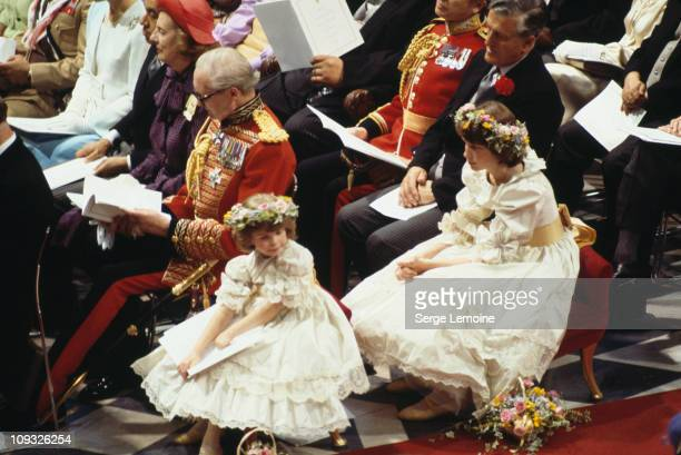 Bridesmaids at the wedding of Prince Charles and Lady Diana Spencer at St Paul's Cathedral in London 29th July 1981