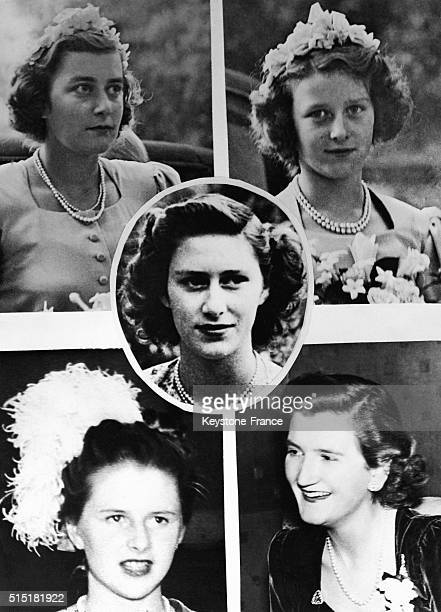 Bridesmaids at the wedding of Princess Elizabeth with Philip Mountbatten in London, United Kingdom, on November 20, 1947.