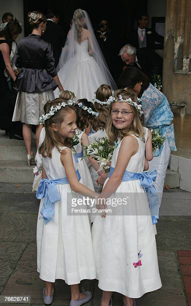 Bridesmaids attend the wedding of Chloe Delevingne and Louis Buckworth on September 7 2007 in London England