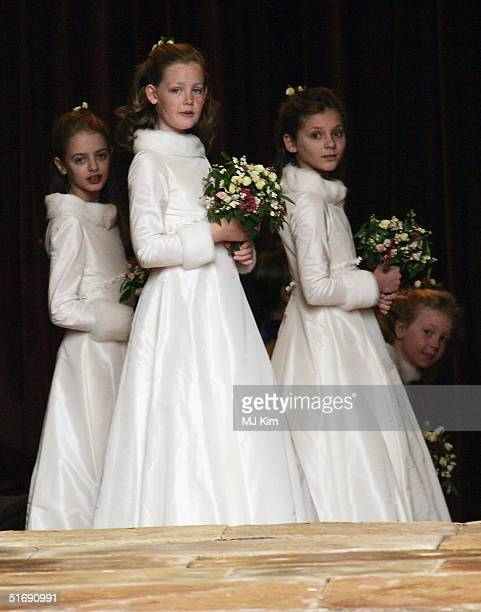 Bridesmaids attend the wedding of Ed Van Cutsem and Lady Tamara Grosvenor at Chester Cathedral on November 6 2004 in Chester England Lady Tamara is...