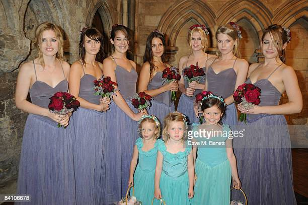Bridesmaids attend the wedding of Leah Wood and Jack MacDonald at Southwark Cathedral on June 21 2008 in London England