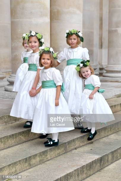 Bridesmaids attend the Wedding of Prince JeanChristophe Napoleon and Olympia Von ArcoZinneberg at Les Invalides on October 19 2019 in Paris France