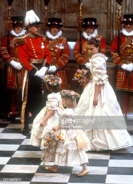 Bridesmaids Clementine Hambro, Catherine Cameron and Lady Sarah Armstrong-Jones attend the wedding of Prince Charles, Prince of Wales and Diana,...