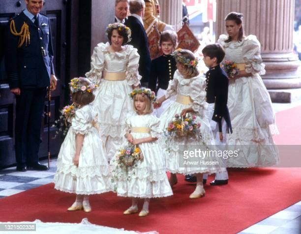 Bridesmaids Clementine Hambro , India Hicks , Catherine Cameron , Sarah Jane Gaselee , Lady Sarah Armstrong-Jones and pageboys, Lord Nicholas Windsor...