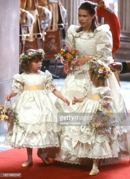 Bridesmaids Clementine Hambro, Lady Sarah Armstrong-Jones and Catherine Cameron attend the wedding of Prince Charles, Prince of Wales and Diana,...