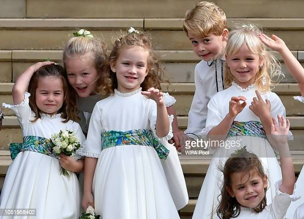 Bridesmaids Princess Charlotte of Cambridge Savannah Phillips Maud Windsor page boy Prince George of Cambridge bridesmaids Isla Phillips Theodora...