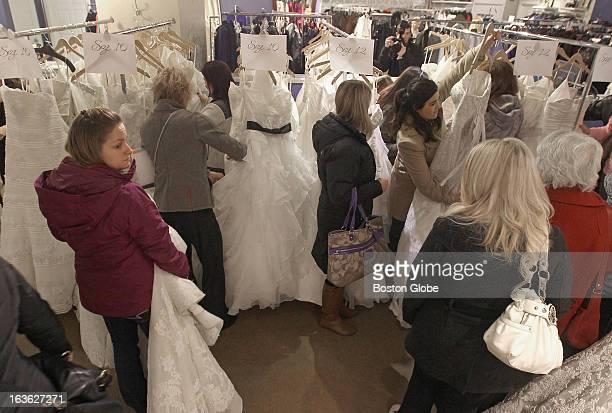 Bella sera bridal stock photos and pictures getty images bridestobe perused racks of discounted gowns during bella sera bridals designer dash the north junglespirit Gallery