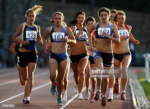 Bridey Delaney from NSW running on the outside was the eventual winner of the Lisa Ondieki Under 20 Womens 3000 metres during the Zatopek Classic...