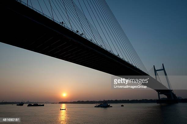 Bridge across a River Vidyasagar Setu Hooghly River Kolkata West Bengal India