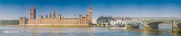 bridge across river thames and palace of westminster - whitehall london stock photos and pictures