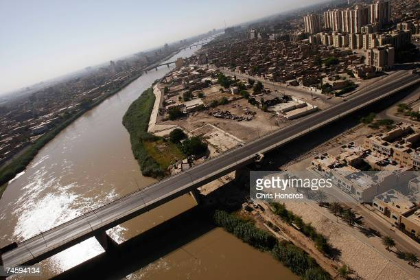 A bridge across the Tigris near the Green Zone normally packed with traffic sits empty June 14 2007 in Baghdad Iraq Baghdad is under a total vehicle...
