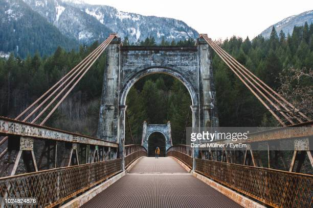 bridge against mountain - vancouver canada stock pictures, royalty-free photos & images