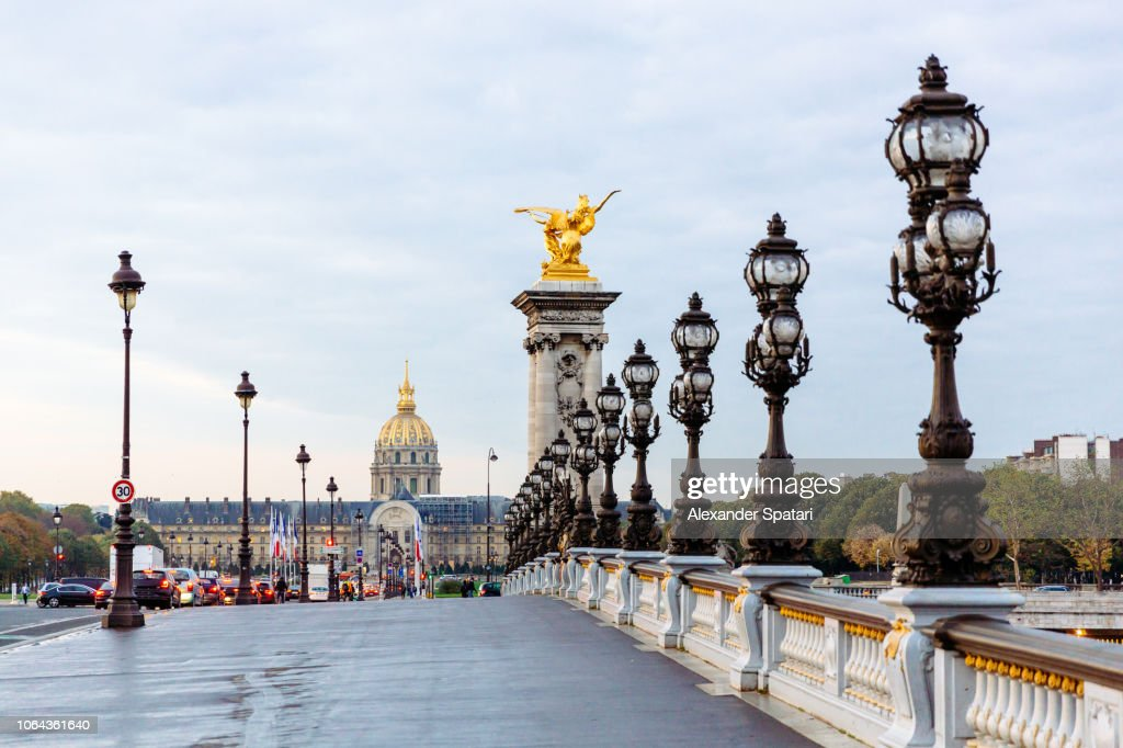 Bridge Alexandre III and Hotel Des Invalides, Paris, France : Foto de stock