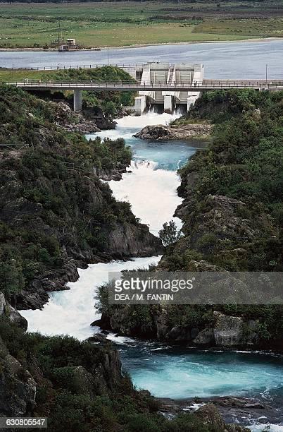 A bridge and a lock near Taupo lake North island New Zealand