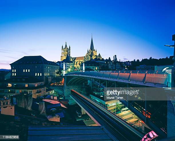 bridge and cathedral at dusk - lausanne stock pictures, royalty-free photos & images