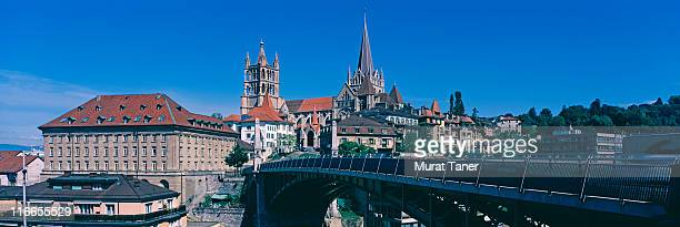 bridge and cathedral - lausanne stock pictures, royalty-free photos & images