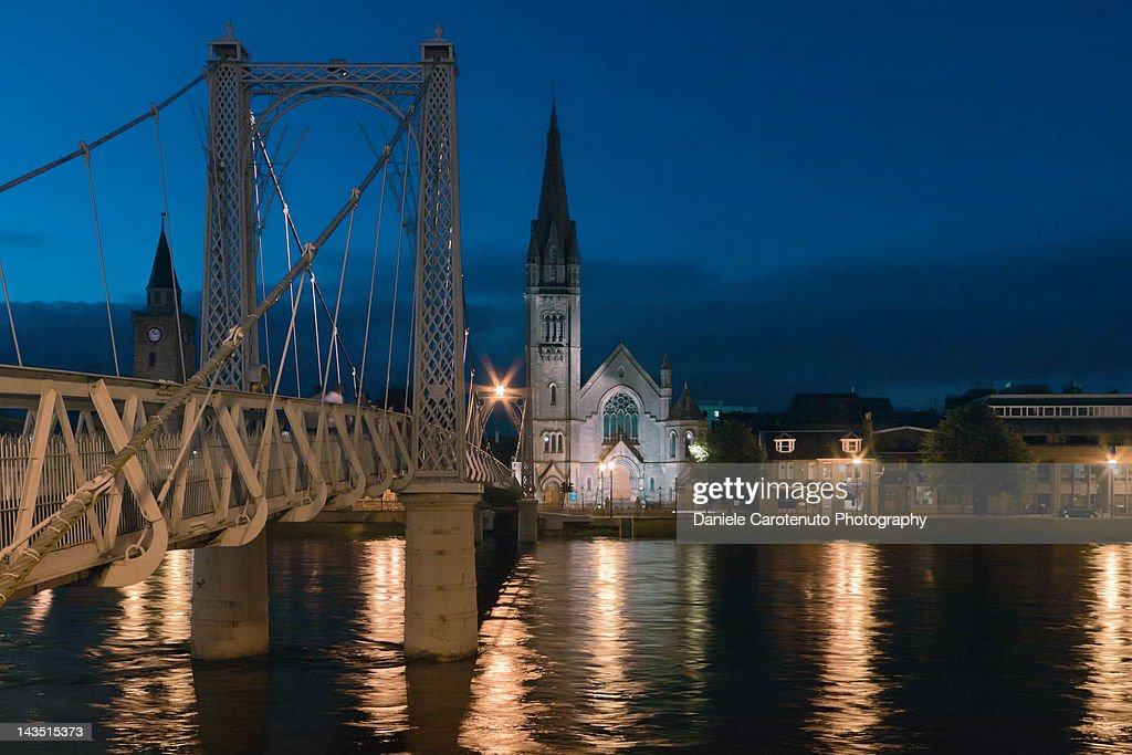 Bridge and church, Inverness : Stock Photo