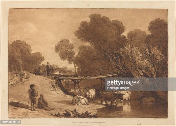 Bridge and Cows, published 1807. Artist JMW Turner.