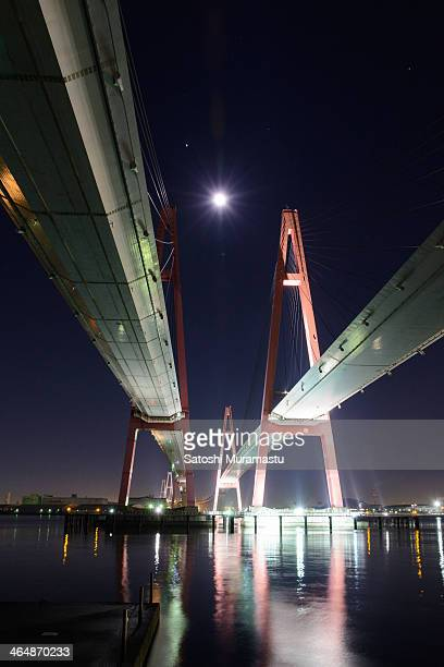 Bridge and moon shining