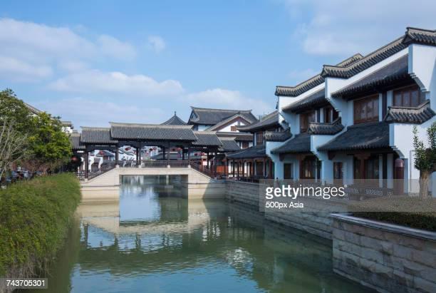 bridge and pond at yancheng old town, changzhou, jiangsu, china - jiangsu province stock pictures, royalty-free photos & images
