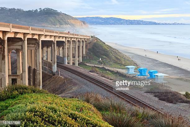 Bridge and Railway on beach, Del Mar, California