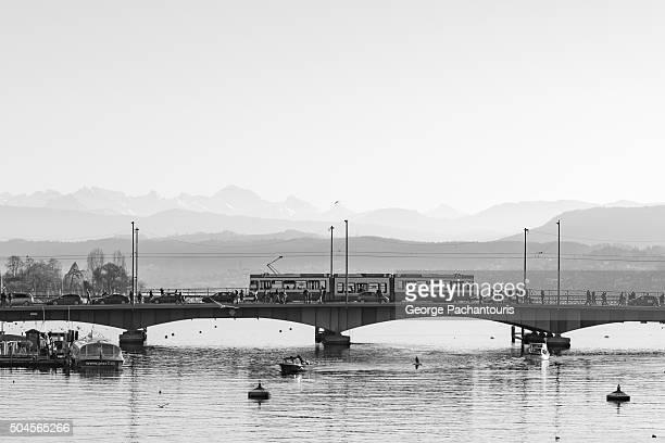 Bridge and tram in Zurich