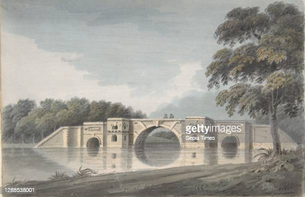 Bridge at Blenheim Palace ; York Cathedral , 18th–19th century, Watercolor and gouache over graphite, sheet: 6 7/8 x 10 11/16 in. , Drawings, Hubert...