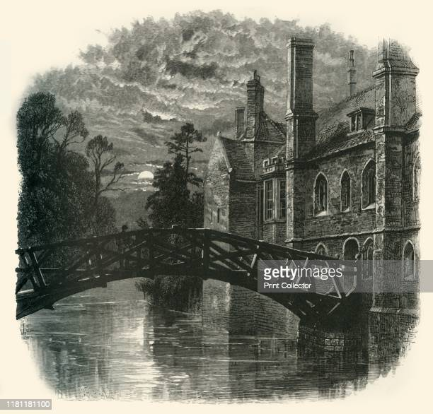 Bridge at Queen's College' circa 1870 Mathematical Bridge on the River Cam at Queen's College Cambridge designed by William Etheridge and built by...