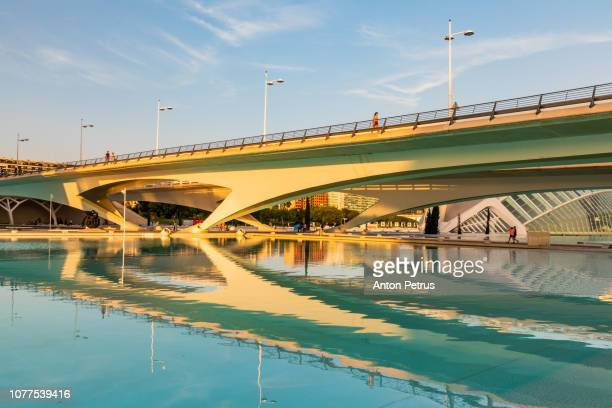 Bridge at sunset in City of Arts and Sciences, Valencia, Spain