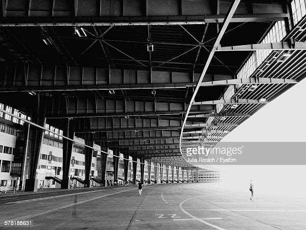 bridge at tempelhof airport against clear sky - tempelhof airport stock pictures, royalty-free photos & images